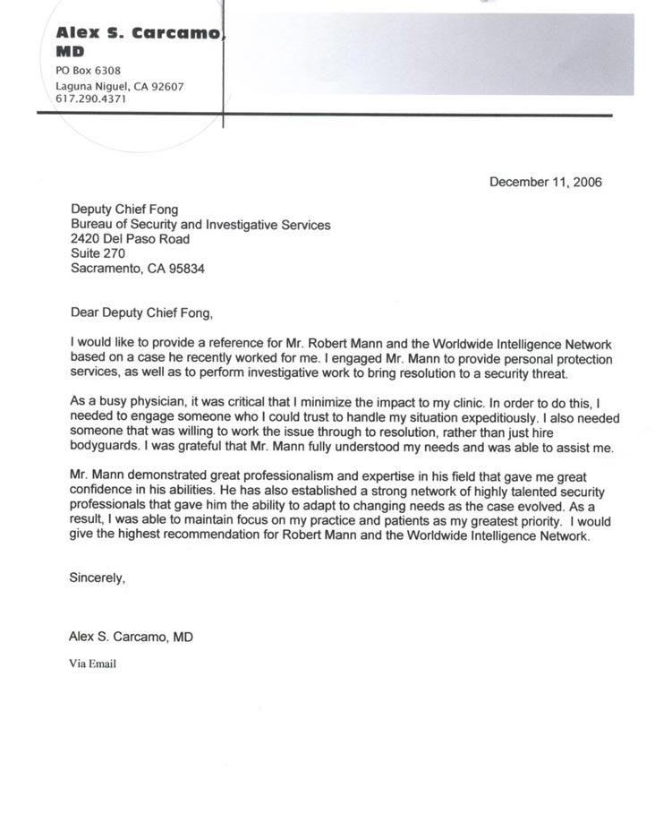 investigations testimonial letter