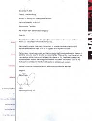 Bodyguard testimonial letter