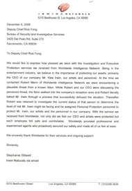corporate investigation testimonial letter