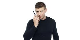 bodyguard talking in walkie talkie